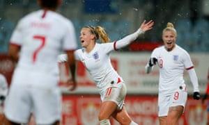 Beth Mead celebrates scoring England's second goal.