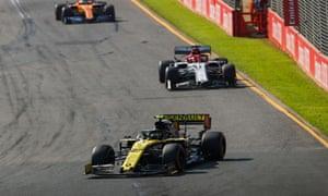 Nico Hulkenberg ahead of Kimi Raikkonen.