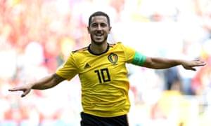 Eden Hazard celebrates after scoring his team's fourth goal