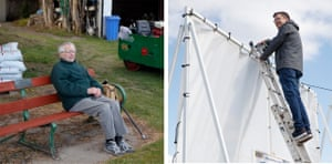Left: Jack Foster, a Lowerhouse member for 77 years, watches the game from his usual bench. Right: Adam Hope, a tech-savvy club member, adjusting his Pitch Vision camera that live-streams matches.