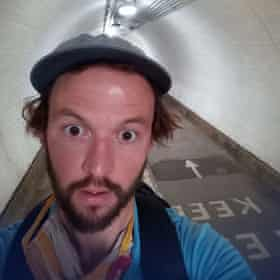 The author in a foot tunnel under the Thames.
