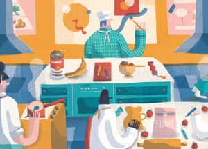 Illustration of art teacher teaching food tech