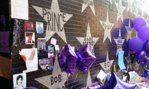 Alphabet street … a memorial to Prince at the First Avenue nightclub, Minneapolis.