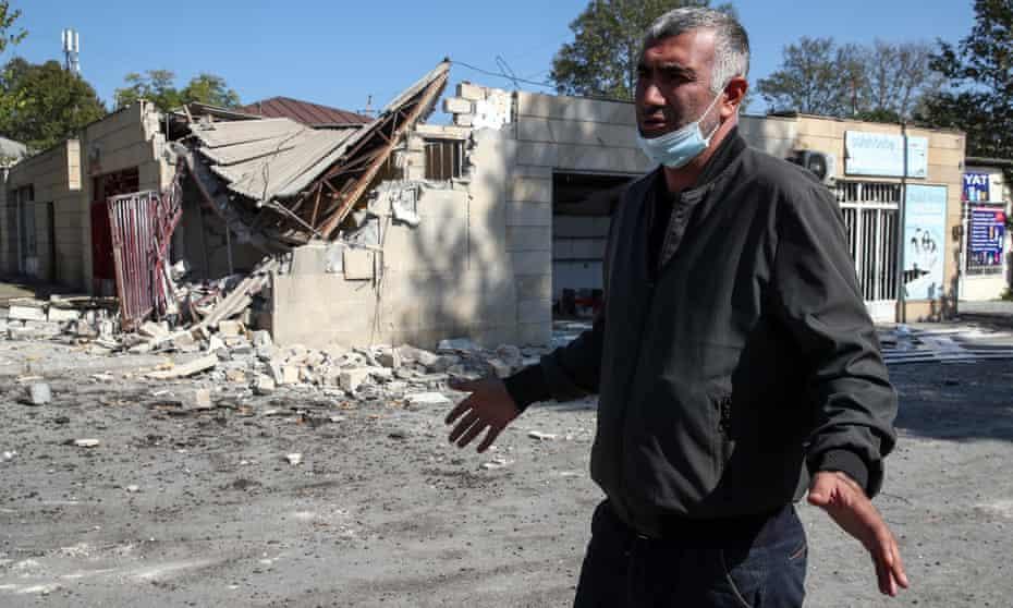 A shelled street market in Tartar, Azerbaijan.