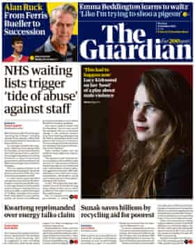 Guardian front page, Monday 11 October 2021