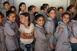 Pupils at the Takadom public school for girls in Tripoli, where Syrian refugee children are integrated into the local system