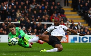 Kepa Arrizabalaga of Chelsea saves from Ryan Babel as the Blues win 1-2 at Craven Cottage.