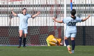 Mjelde celebrates scoring a penalty.