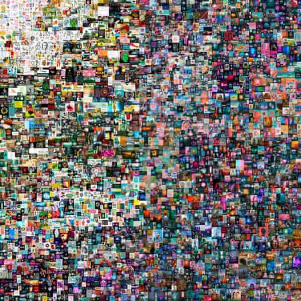 یک کلاژ هنری دیجیتال توسط Beeple.  در 11 مارس ، یکی از آثار او ممکن است در حراجی بیش از 13.2 میلیون دلار باشد.