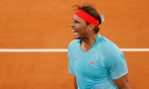 Rafael Nadal celebrates after winning his quarter-final against Italy's Jannik Sinner