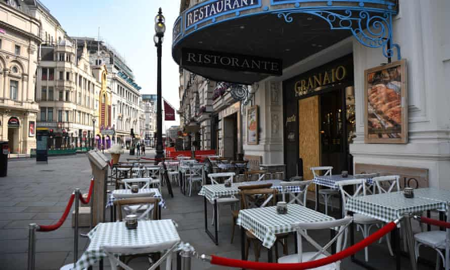 An empty restaurant at Piccadilly in London.