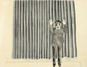Figure by a Curtain, 1964, by David Hockney.