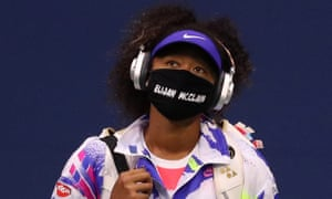 Naomi Osaka wears a face mask with the name of Elijah McClain was shot and killed by police in Colorado last month.
