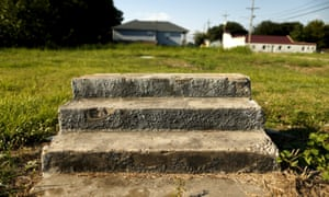 Steps are all that remain of where a house once stood are seen in the Lower Ninth Ward neighborhood of New Orleans.