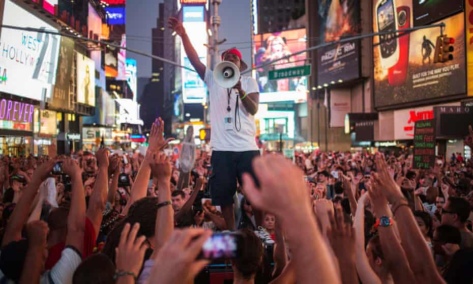 Activists demand justice for Trayvon Martin in Times Square in 2013.