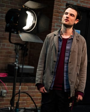 Tom Sturridge on stage in the Off-Broadway play Sea Wall/A Life.