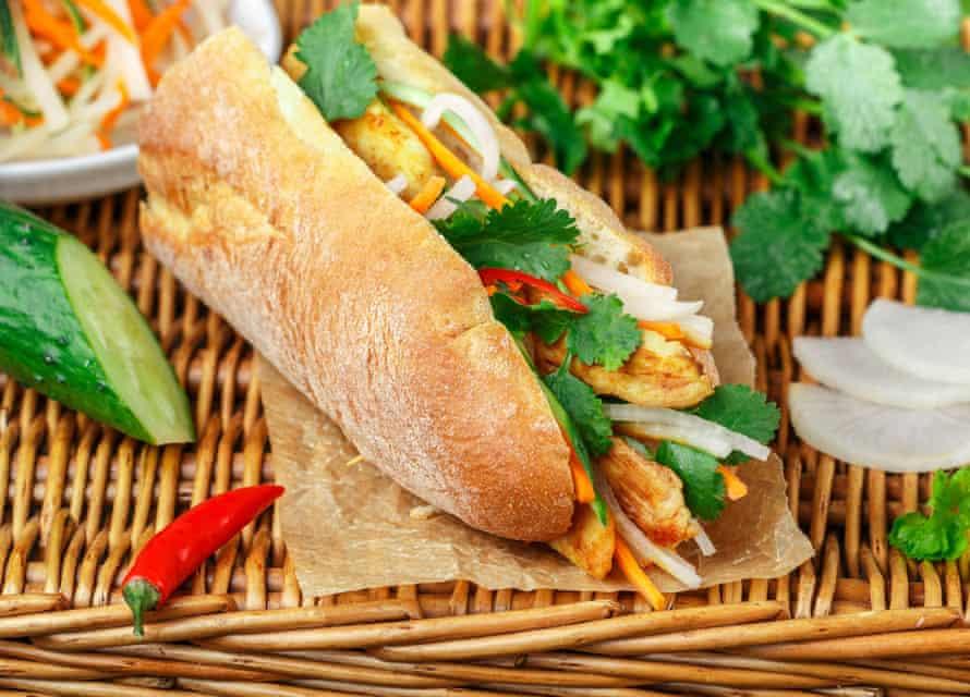 Speedy Vietnamese-inspired chicken baguettes.