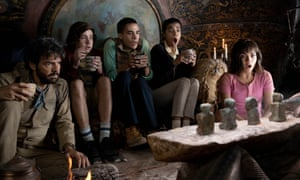 Isabela Moner, far right, with (l-r) Eugenio Derbez, Nicholas Coombe, Jeffrey Wahlberg and Madeleine Madden in Dora and the Lost City of Gold.