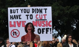 a placard at the Don't Kill Live Music Rally in Sydney on February 21