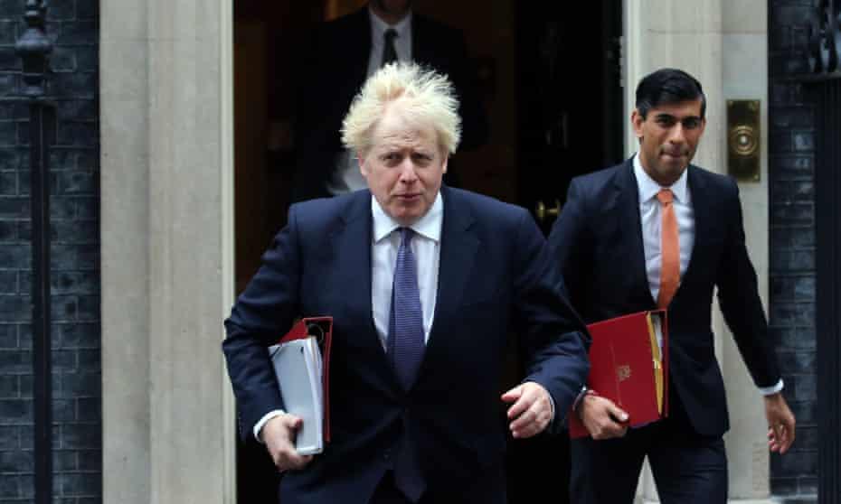 Boris Johnson and Rishi Sunak leaving Downing Street in October 2020.