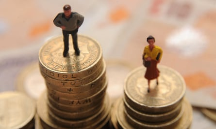 Plastic models of man and woman standing on pile of coins