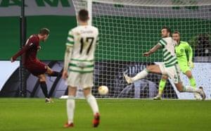 Sparta Prague's Lukas Julis (left) scores his side's second goal.