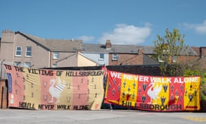 Peter Carney with the Hillsborough banners.