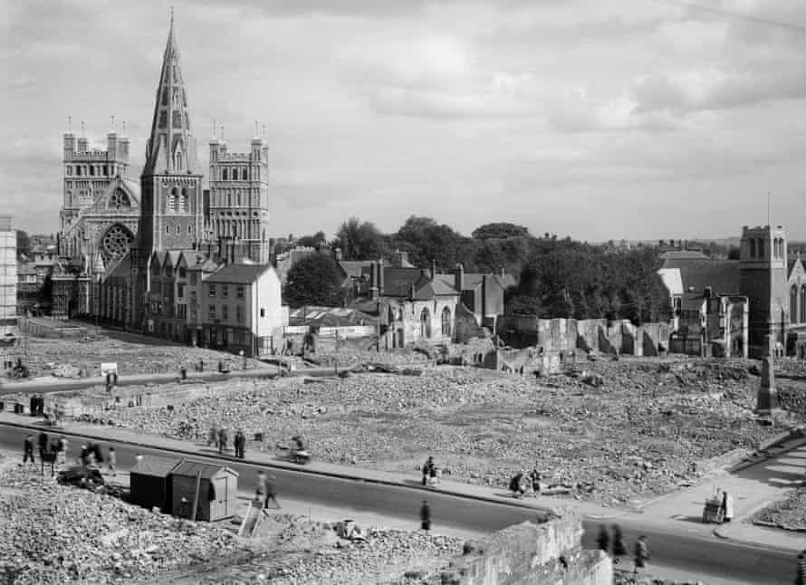 The view looking east from the tower of St Mary Arches in Exeter.