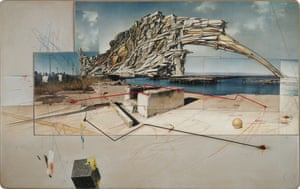 Lebbeus Woods, Quake City, from San Francisco: Inhabiting the Quake, graphite and pastel on paper.