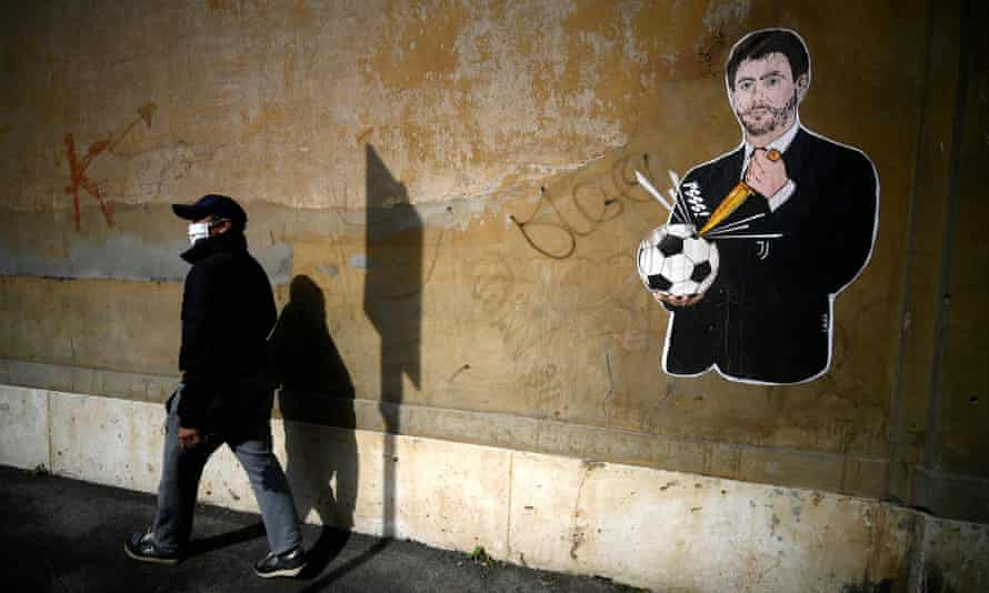 Street art in Rome depicts the Juventus president, Andrea Agnelli, one of the project's key players.