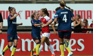 Brianna Visalli is congratulated after scoring the first goal during Arsenal Women vs West Ham United Ladies.