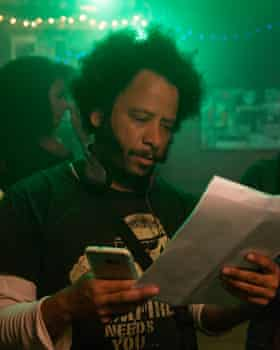 Boots Riley on the set of Sorry to Bother You.