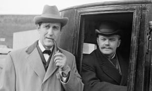 Douglas Wilmer, left, as Holmes, with Nigel Stock as Watson, in The Man with the Twisted Lip, a 1965 episode of the BBC series Sherlock Holmes.