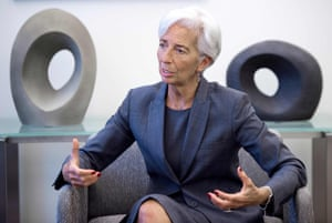 International Monetary Fund (IMF) Managing Director Christine Lagarde speaks during an interview at the IMF headquarters in Washington on July 6, 2016. Lagarde led the IMF since 5 July 2011. / AFP PHOTO / PAUL J. RICHARDSPAUL J. RICHARDS/AFP/Getty Images