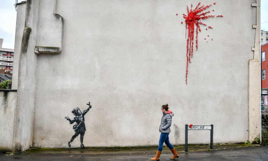 Banksy, the elusive street artist from Bristol, is believed to be behind the artwork on the side of a house in city's Barton Hill district.