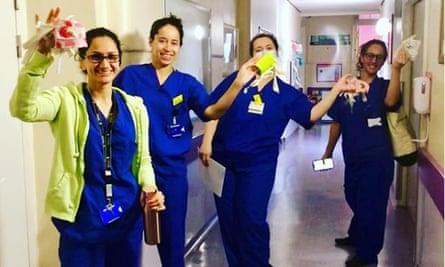 Nurses receive masks sewn by London Met staff.