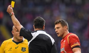 Dan Biggar, right, was sent to the sin-bin for an early tackle.