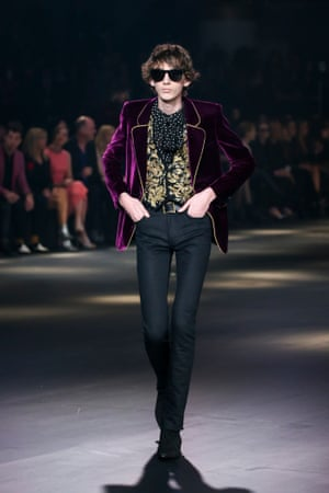 Purple velvet jacket Saint Laurent AW16