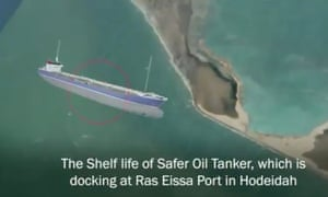 An image from a Yemeni government video warning of a possible oil spill into the Red Sea.