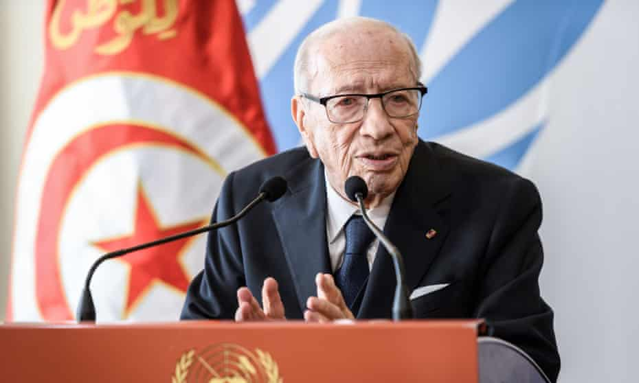 Beji Caid Essebsi speaks after a meeting of the UN human rights council in Geneva in February.