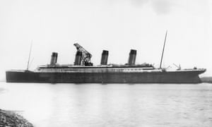 RMS Titanic nearing completion at Harland and Wolff in Belfast, 1912.