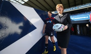 Nicola Sturgeon meeting the Scotland rugby squad ahead of the world cup. Two recent polls suggest that support for independence has grown since last year's referendum.