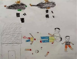 The picture drawn by a Syrian child treated by Dr Zaher Sahloul