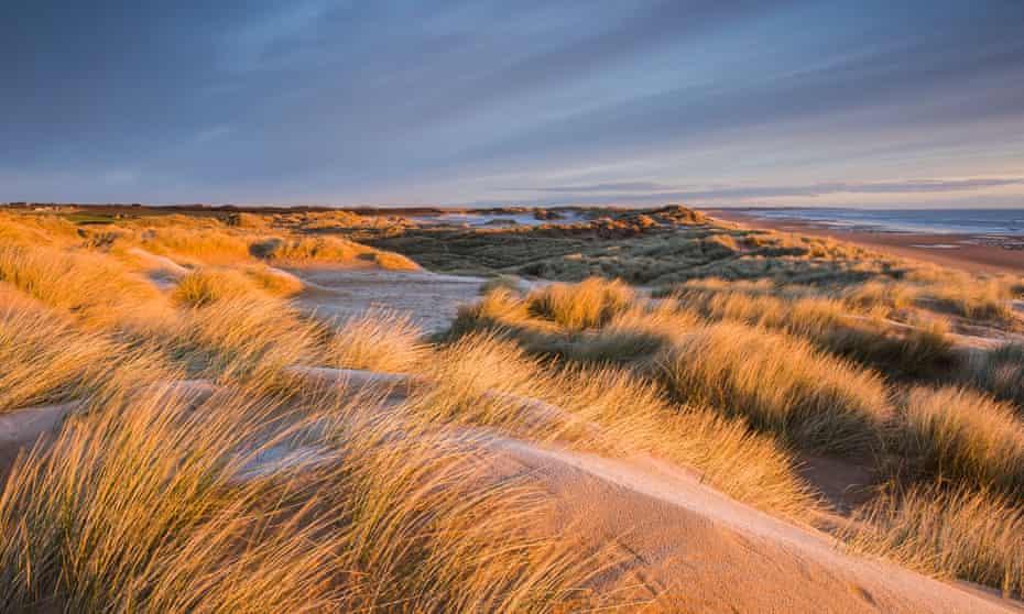 Balmedie beach at sunrise, Aberdeenshire, Scotland, UK