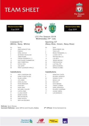 Liverpool v Sporting Lisbon
