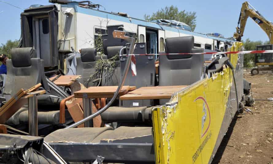 Wreckage from the Puglia train collision