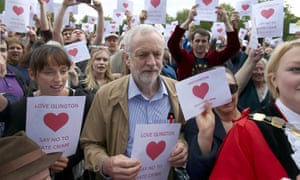 Jeremy Corbyn attends an anti-racism rally in north London on Sunday.