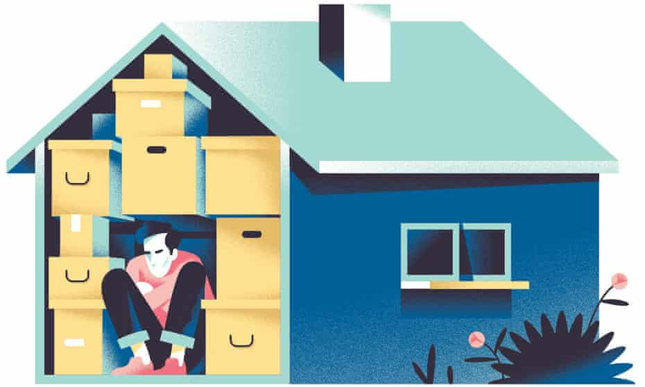 Illustration of man crouching in a house full of boxes