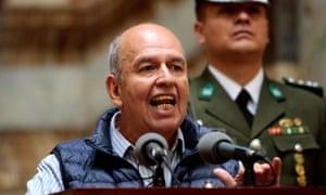 Arturo Murillo addresses the media in La Paz, Bolivia