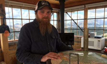 Levi Brinegar at the US Forest Service's Stonewall fire lookout in Montana.